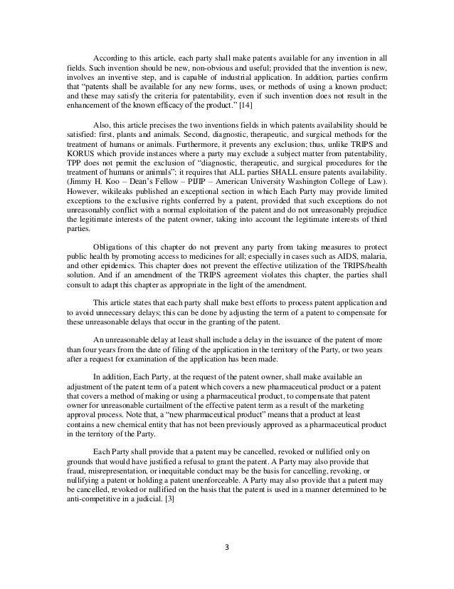 Alteration Of Patent Protection Length In The Intellectual Property P