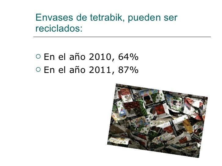 Envases de tetrabik, pueden ser reciclados:  <ul><li>En el año 2010, 64% </li></ul><ul><li>En el año 2011, 87% </li></ul>
