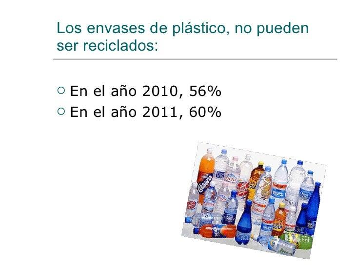 Los envases de plástico, no pueden ser reciclados: <ul><li>En el año 2010, 56% </li></ul><ul><li>En el año 2011, 60% </li>...