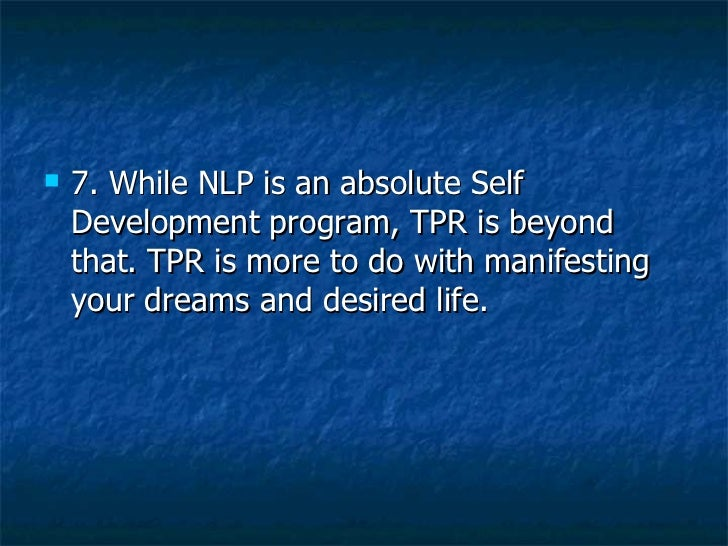 Tpr and nlp | sajeev nair | business coach| business ...