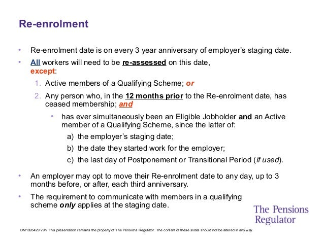 Auto enrolment slides from the pensions regulator 23 re enrolment spiritdancerdesigns Choice Image
