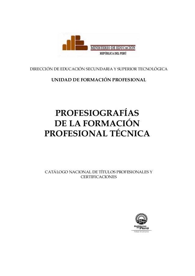 PROFESIOGRAFÍAS DE LA FORMACIÓN PROFESIONAL TÉCNICA DIRECCIÓN DE EDUCACIÓN SECUNDARIA Y SUPERIOR TECNOLÓGICA UNIDAD DE FOR...