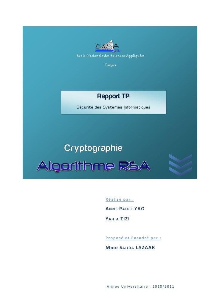 Ecole Nationale des Sciences Appliquées                Tanger            Rapport TPSécurité des Systèmes Informatiques    ...
