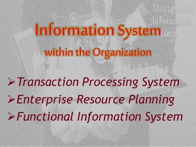 informationsystem withinthe organization transaction processing system enterprise resource planning functional informat