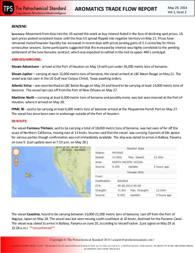 BENZENE: Summary: Movement from Asia into the US waned this week as buy interest faded in the face of declining spot price...