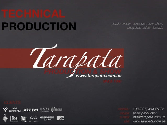 TECHNICALPRODUCTION        private events, concerts, tours, show                               programs, artists, festival...