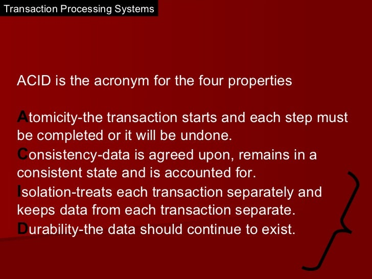 Transaction processing systems  Slide 3