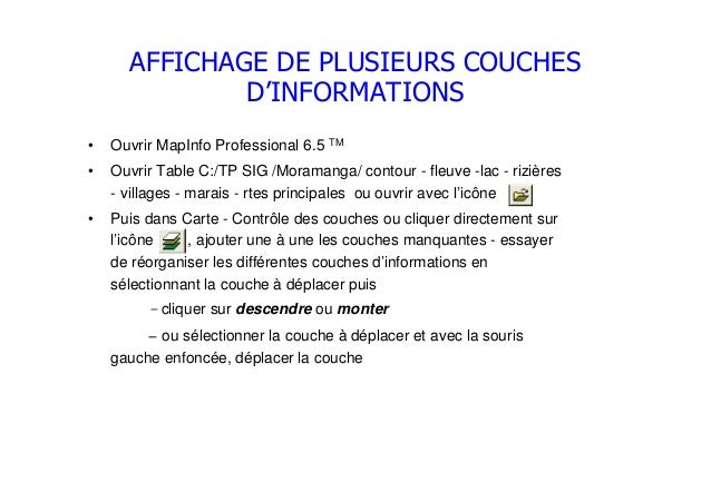 AFFICHAGE DE PLUSIEURS COUCHESD'INFORMATIONS• Ouvrir MapInfo Professional 6.5 TM• Ouvrir Table C:/TP SIG /Moramanga/ conto...