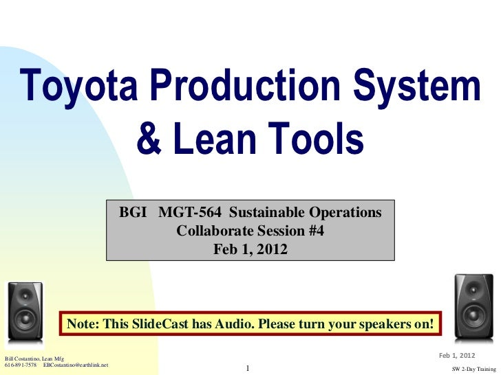 Toyota Production System           & Lean Tools                                          BGI MGT-564 Sustainable Operation...