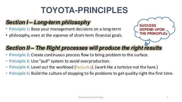 the basic principles of toyotas production system marketing essay Toyota motor corporation's vehicle production system is a way of making things that is sometimes referred to as a lean manufacturing system or a just-in-time (jit) system, and has come to be well known and studied worldwide.