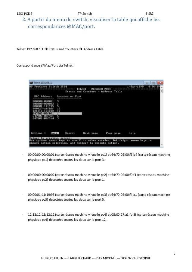 1SIO POD4 TP Switch SISR2 2. A partir du menu du switch, visualiser la table qui affiche les correspondances @MAC/port. Te...