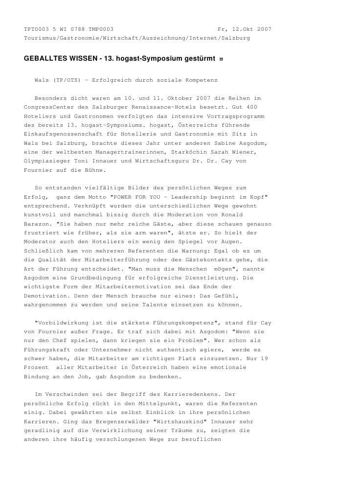TPT0003 5 WI 0788 TMP0003                             Fr, 12.Okt 2007Tourismus/Gastronomie/Wirtschaft/Auszeichnung/Interne...