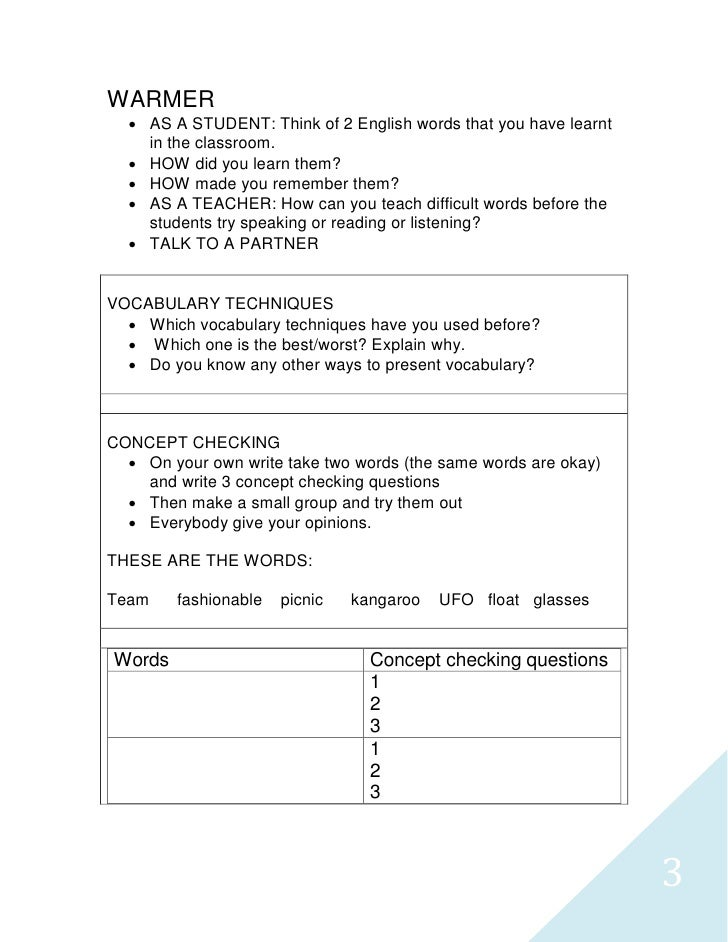 Tp teaching vocabulary lesson plan