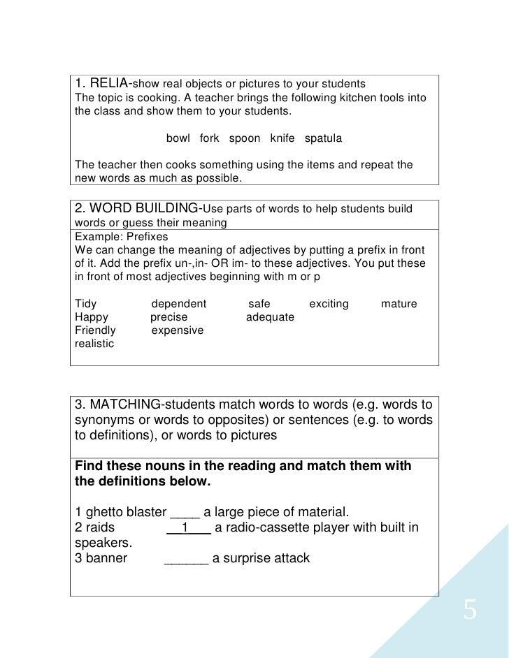 Tp teaching vocabulary lesson plan – Teacher Lesson Plan