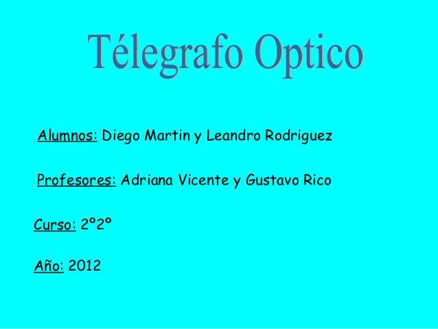 Alumnos: Diego Martin y Leandro RodriguezProfesores: Adriana Vicente y Gustavo RicoCurso: 2º2ºAño: 2012