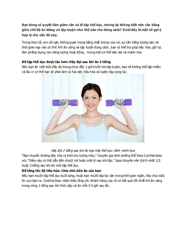 Bạn đang có quyết tâm giảm cân và đi tập thể dục, nhưng lại không biết nên cân bằng giữa chế độ ăn kiêng và tập luyện như ...