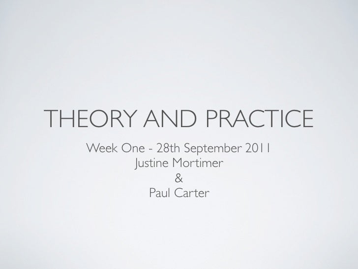 THEORY AND PRACTICE  Week One - 28th September 2011        Justine Mortimer                &           Paul Carter