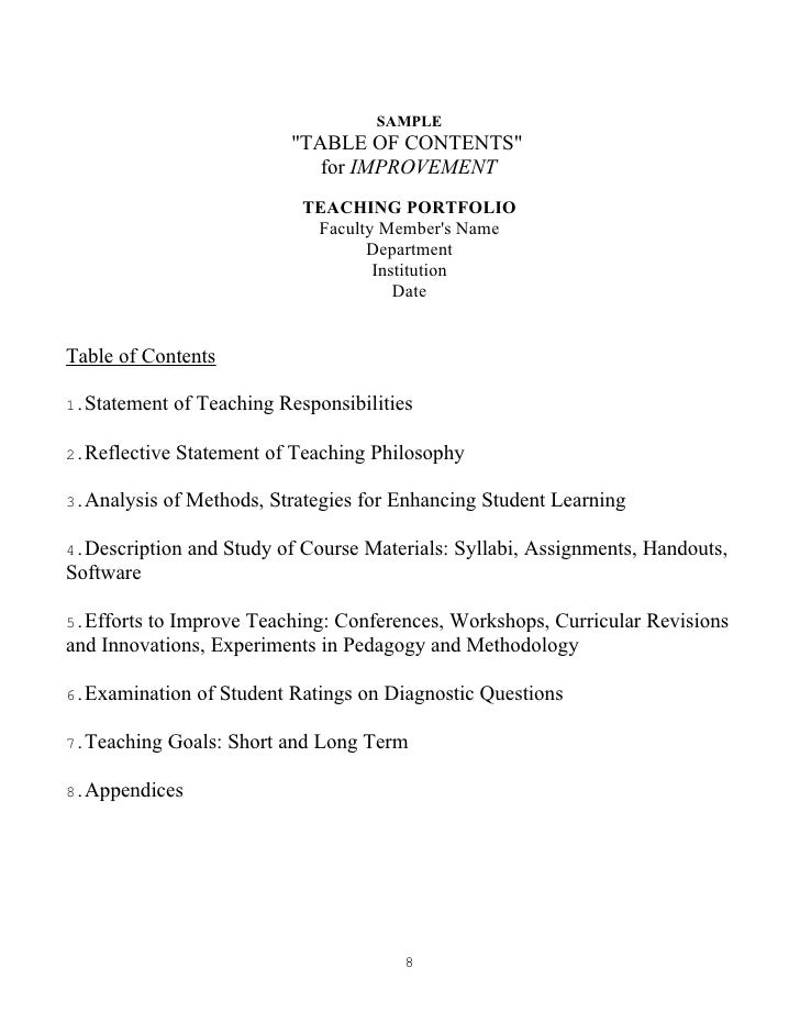 Teaching portfolio reflective essay