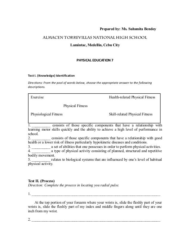 Grade 7 MAPEH Test Questionnaires