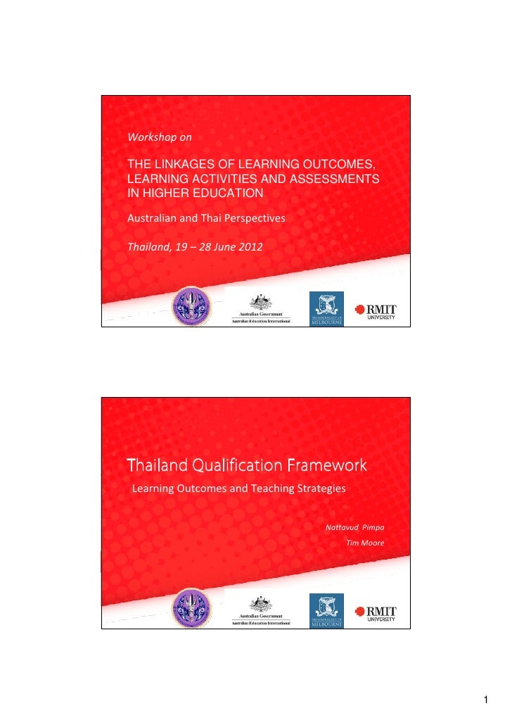 WorkshoponTHE LINKAGES OF LEARNING OUTCOMES,LEARNING ACTIVITIES AND ASSESSMENTSIN HIGHER EDUCATIONAustralianandThaiPer...