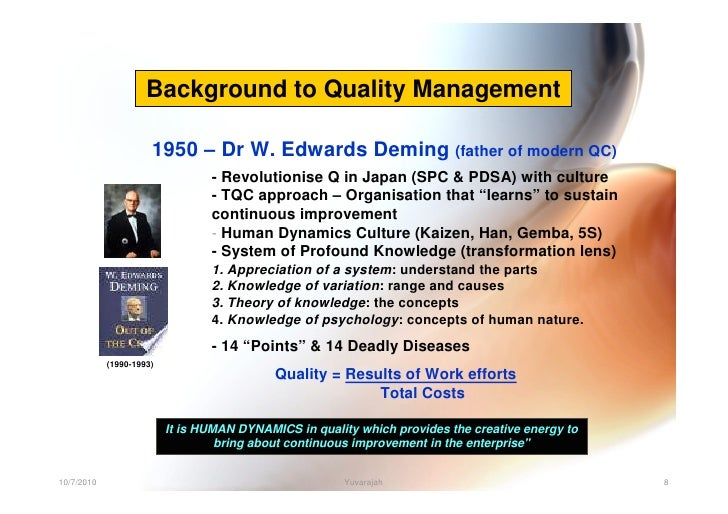 dr w edwards deming continuous quality improvement theory W edwards deming's theory of management  professor emeritus, university of  south florida  continuous improvement  quality cost and models.