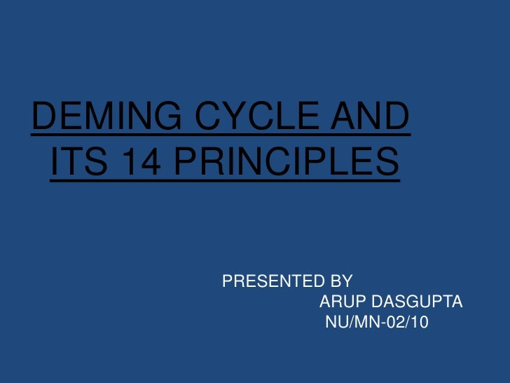 DEMING CYCLE AND ITS 14 PRINCIPLES         PRESENTED BY                 ARUP DASGUPTA                  NU/MN-02/10