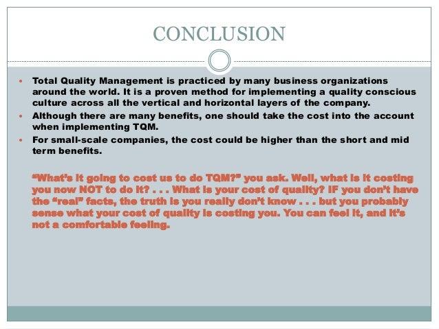 tqm conclusioniuml130151 total quality management