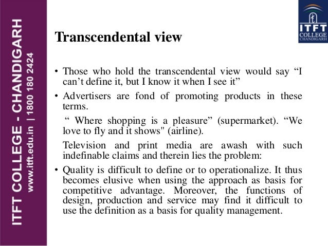 transcendental view of quality
