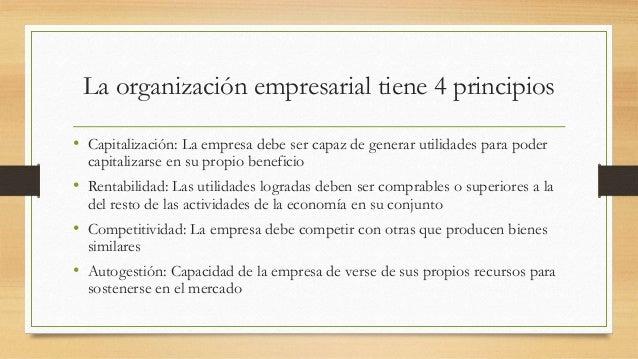 La organización empresarial tiene 4 principios • Capitalización: La empresa debe ser capaz de generar utilidades para pode...