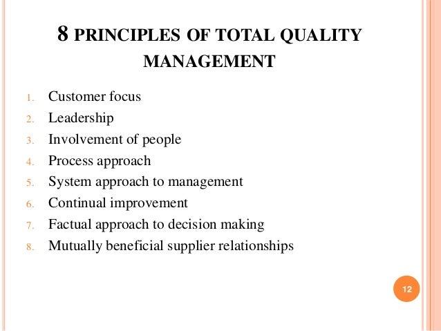principles total quality management essay The role of total quality management total quality management in raising the service quality of in raising the service quality of public health laboratoriespublic.