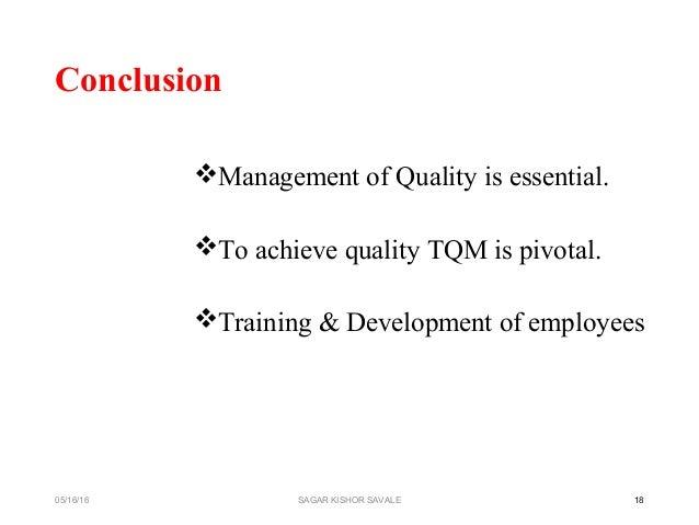 total quality management tqm conclusion iuml129paramanagement