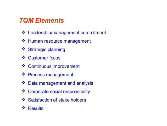 TQM Elements  Leadership/management commitment  Human resource management  Strategic planning  Customer focus  Contin...