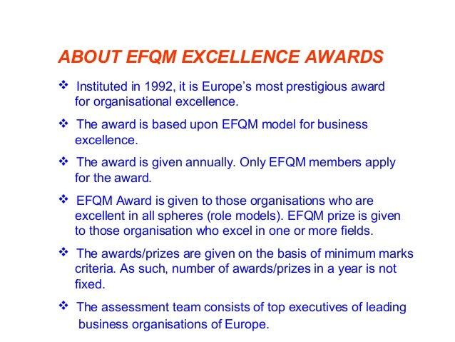 EFQM MODEL-2010 (EUROPEAN FOUNDATION FOR QUALITY MANAGEMENT) TQM Element Points Leadership 100 People Management 100 Polic...