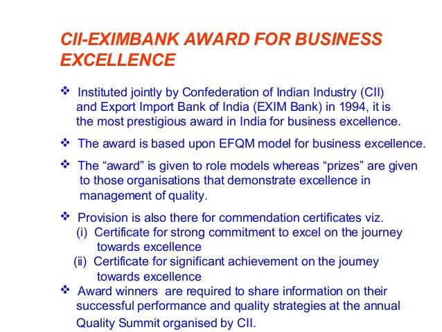 CII-EXIM BANK AWARD/PRIZE WINNERS 1. The tinplate company of India Ltd. (2008-prize) 2. Tata consultancy services Ltd. (20...