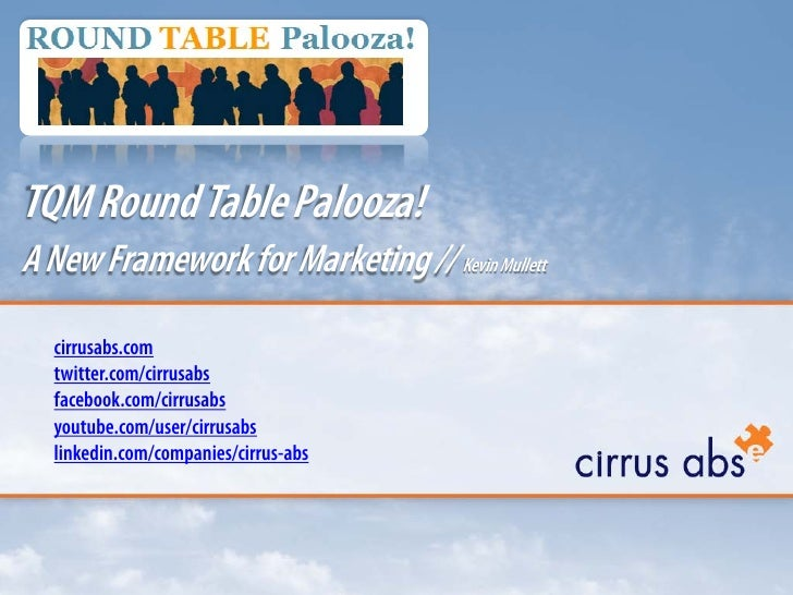 TQM Round Table Palooza!<br />A New Framework for Marketing // Kevin Mullett<br />cirrusabs.comtwitter.com/cirrusabsfacebo...