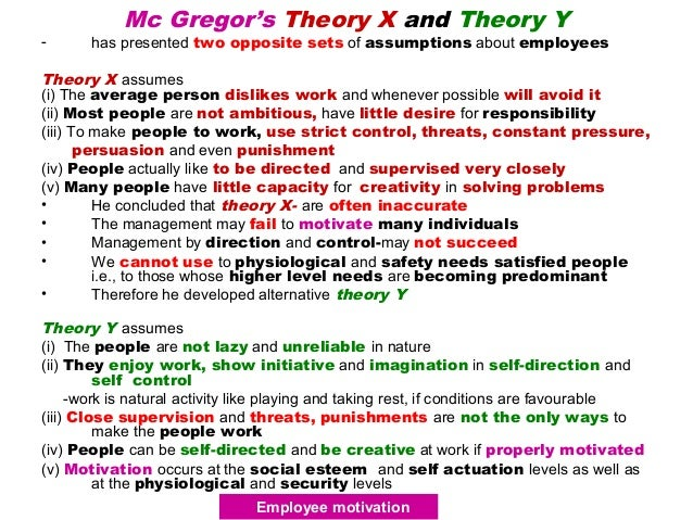 assumption of douglas mc gregor theory Based on the premises concerning human behaviour, prof douglas mcgregor put forward a theory of motivation, called as theory x and theory y theory x is a conventional approach to motivation, based on negative assumptions.