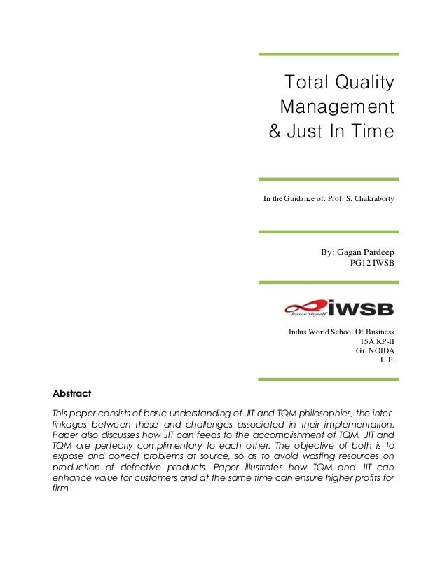 Total Quality                                                    Management                                               ...
