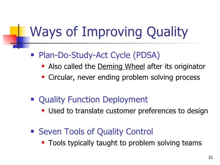 Ways of Improving Quality <ul><li>Plan-Do-Study-Act Cycle (PDSA) </li></ul><ul><ul><li>Also called the  Deming Wheel  afte...