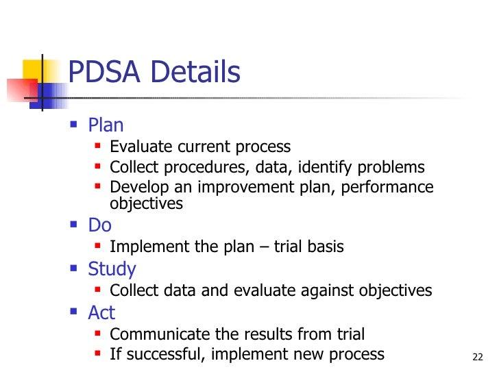 PDSA Details <ul><li>Plan </li></ul><ul><ul><li>Evaluate current process </li></ul></ul><ul><ul><li>Collect procedures, da...