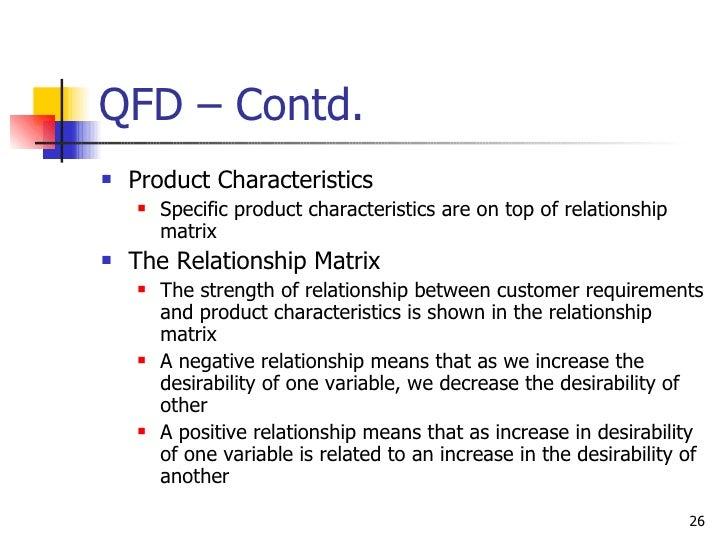 QFD – Contd. <ul><li>Product Characteristics </li></ul><ul><ul><li>Specific product characteristics are on top of relation...