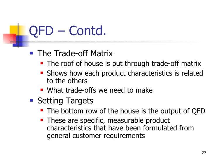 QFD – Contd. <ul><li>The Trade-off Matrix </li></ul><ul><ul><li>The roof of house is put through trade-off matrix </li></u...