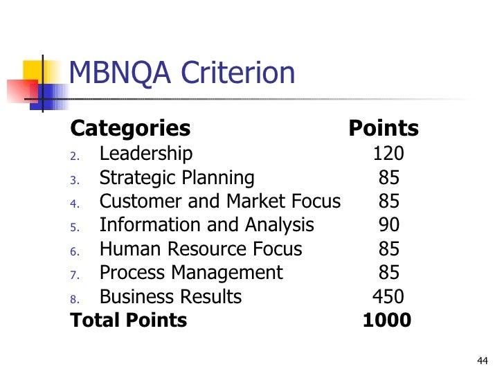MBNQA Criterion <ul><li>Categories   Points </li></ul><ul><li>Leadership 120 </li></ul><ul><li>Strategic Planning  85 </li...