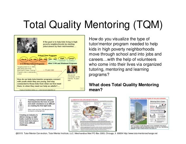 Total Quality Mentoring (TQM) How do you visualize the type of tutor/mentor program needed to help kids in high poverty ne...