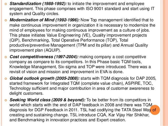  Standardization (1988-1992): to initiate the improvement and employee engagement. This phase comprises with ISO 9001 sta...