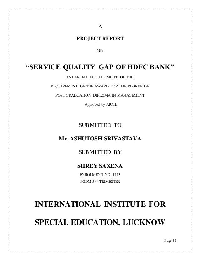 project report on hdfc bank Mba projects download free finance 2018 analysis of hdfc bank services of standard chartered bank project report on financial analysis of.