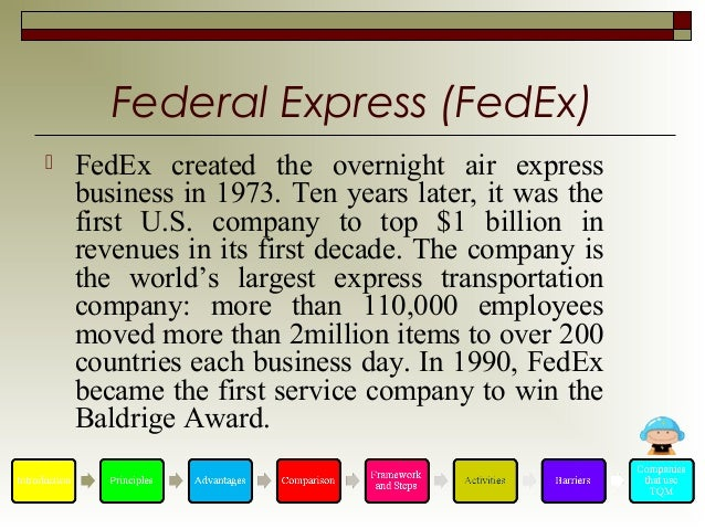 federal express quality improvement programthe leading Quality awards for federal organizations later in 1988, quality improvement pograms were initiated and implemented throughout many government organizations and especially in the military.