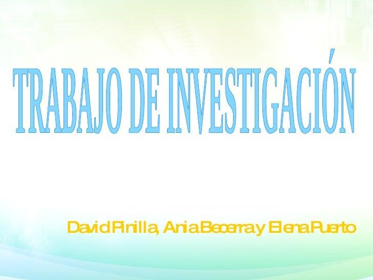 David Pinilla, Ania Becerra y Elena Puerto TRABAJO DE INVESTIGACIÓN