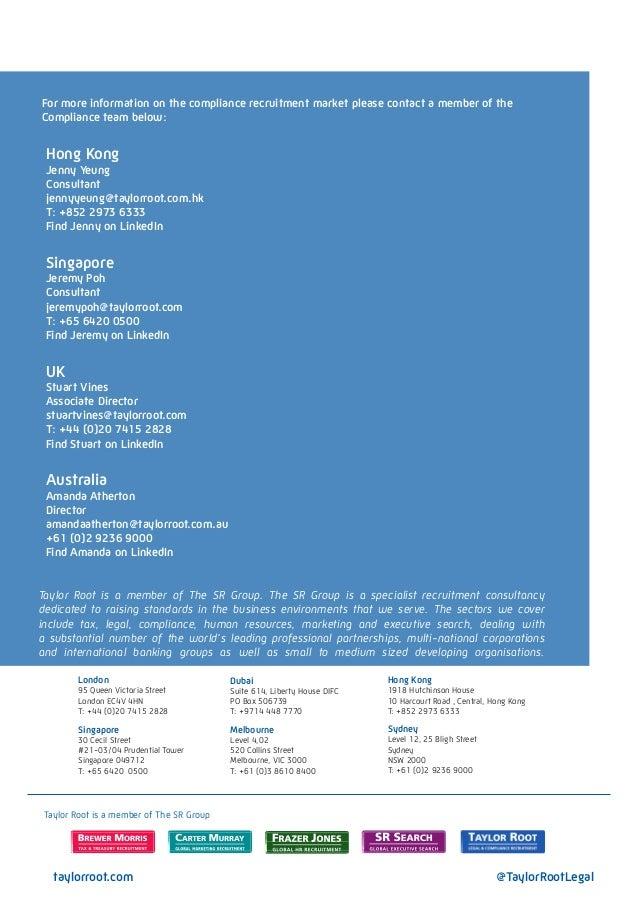 Taylor Root Hong Kong Compliance Salary Guide 2013