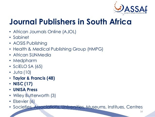scholarly journal publishing in south africa Sa family practice is the academic journal for the specialty of family medicine in south africa elected member medical and dental professional board of south africa.