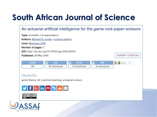 scholarly journal publishing in south africa The academy of science of south africa increasing scholarly publishing in southern africa wanting to explore open access publishing journal editors.